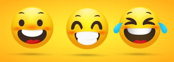 Collezione Emoji che mostra emozioni felici. Scherzi divertenti in uno sfondo giallo.