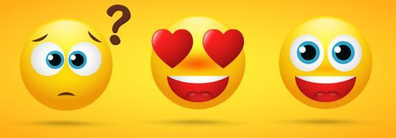 Collezione Emoji che mostra emozioni, trance, meraviglia, amore ed eccitazione in uno sfondo giallo vettore