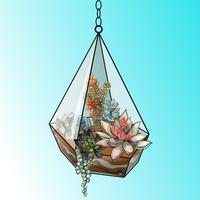 Composizione floreale di piante grasse in un acquario di vetro geometrico. Vettore.