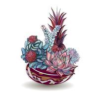 Piante grasse in acquari di vetro. Sabbia colorata Composizioni decorative floreali. Grafica. Acquerello. Vettore.