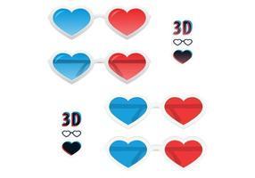 Pacchetto di occhiali 3D cuore vettoriale
