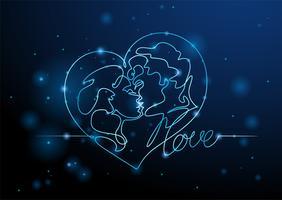 Gli amanti uomo e donna che si baciano. Cuore al neon San Valentino. Grafica al neon. Vettore