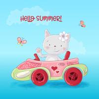 Gatto simpatico cartone animato in macchina. Vettore