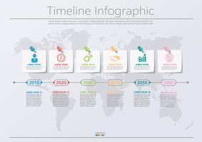 Icone infographic di cronologia di visualization.pin di dati di affari progettate per il modello astratto del fondo.