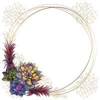 Cornice rotonda in oro con succulente. Vettore. Acquerello. Grafica