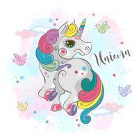 Unicorno magico. Mia piccola. Pony fata Criniera arcobaleno. In stile cartoon. Vettore
