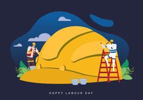 Celebri l'illustrazione di vettore di concetto di festa del lavoro