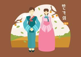 Illustrazione di carattere vettoriale felice Chuseok piatto