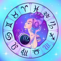 Segno zodiacale Scorpione una bella ragazza. Oroscopo. Astrologia. Vettore.