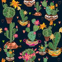Modello senza cuciture decorativo disegnato a mano con cactus e succulente.