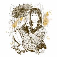 Ragazza giapponese in kimono con ombrello. Vettore.
