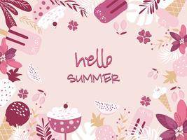 Stampe di estate, adesivi, immagine di vettore di uccelli di foglie di Palma banner di frutta di estate.