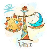 Icona oroscopo per bambini. Zodiac per bambini. Segno di Bilancia Vettore. Simbolo astrologico come personaggio dei cartoni animati. vettore