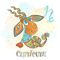 Icona oroscopo per bambini. Zodiac per bambini. Segno Capricorno Vettore. Simbolo astrologico come personaggio dei cartoni animati. vettore