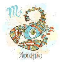 Icona oroscopo per bambini. Zodiac per bambini. Segno Scorpione. Vettore. Simbolo astrologico come personaggio dei cartoni animati.