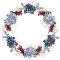 Corona di fiori di cornice festosa succulente. Vettore. vettore