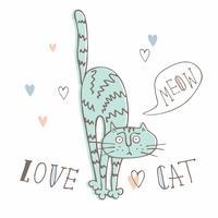 Gatto divertente in uno stile carino. Scarabocchi. Stile cartoon.Vector illustrazione.