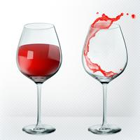 Bicchiere di vino di trasparenza Vuoto e pieno. Realismo 3d, icona di vettore.
