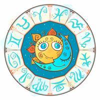 Sole e luna nel cerchio dello zodiaco. Stile carino per bambini. Vettore.