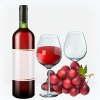 Vino rosso. Bicchieri, bottiglia, uva. Insieme realistico dell'icona di vettore 3d
