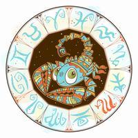 Icona dell'oroscopo per bambini. Zodiac per bambini. Segno Scorpione. Vettore. Simbolo astrologico come personaggio dei cartoni animati