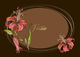 Festosa cornice ovale elegante con fiore di giglio. Vettore
