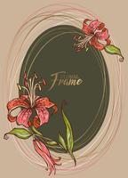 Festosa cornice ovale elegante con fiore di giglio. Vettore.