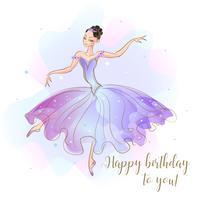 Scheda con una principessa ballerina. Congratulazioni per il tuo compleanno. Vettore