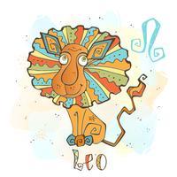 Icona oroscopo per bambini. Zodiac per bambini. Segno del Leone Vettore. Simbolo astrologico come personaggio dei cartoni animati.