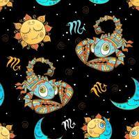 Un divertente modello senza cuciture per bambini. Segno zodiacale Scorpione. Vettore.