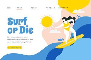 Pagina di destinazione di surf con la ragazza che pratica il surfing con il paesaggio vettore
