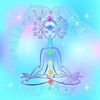Ragazza nella posizione del loto e nei chakra dell'uomo. Energia Reiki. Vettore