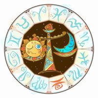 Icona dell'oroscopo per bambini. Zodiac per bambini. Segno di Bilancia Vettore. Simbolo astrologico come personaggio dei cartoni animati. vettore