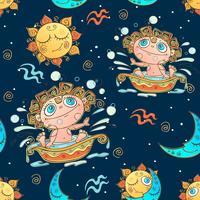 Un divertente modello senza cuciture per bambini. Segno zodiacale Acquario. Vettore