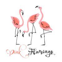 Fenicottero rosa. Illustrazione divertente in uno stile carino. Motivi estivi. Vettore