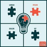 Icona di puzzle della lampadina isolata vettore
