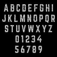 Font alfabeto rotto vettore