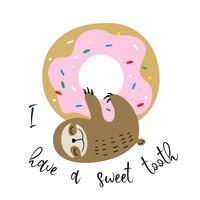 Simpatico bradipo appeso a una ciambella dolce. Dente dolce Iscrizione. Vettore