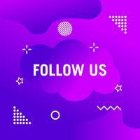 Seguici testo modello di design moderno. Colori viola e bianco. Sfondo colorato