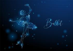 Ballerina. Immagine fantastica di una ragazza che balla. Grafica al neon. Vettore