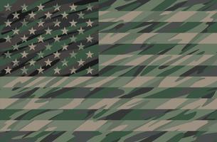 Illustrazione patriottica di vettore della bandiera di USA di Camo Green della giungla patriottica