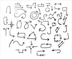 frecce nere disegnate a mano. Scarabocchi. Illustrazione vettoriale isolato su sfondo bianco. Illustrazione vettoriale