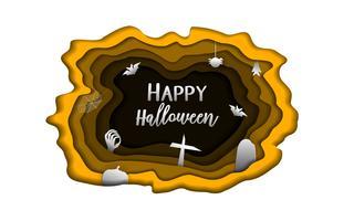 La carta felice del giorno di Halloween scolpisce il fondo. Carino paperart e concetto di lavoro di ufficio per materiale ghost card. Poster di opere d'arte del fumetto. Tema di stile della copertura della lettera dell'invito del modello di vettor