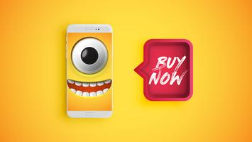 Alta emoticon gialla dettagliata su uno smartphone con un fumetto rosso, illustrazione di vettore