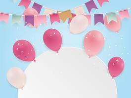 Manifesto di compleanno con palloncini. Bandiere colorate e coriandoli su sfondo blu. vettore