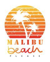Concetto di vacanze estive delle palme della spiaggia di Malibu vettore