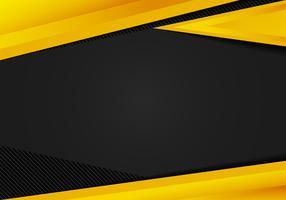 I triangoli geometrici gialli del modello astratto contrastano il fondo nero. È possibile utilizzare per la progettazione aziendale, brochure di copertina, libri, banner web, pubblicità, poster, volantini, volantini.