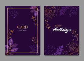 Invito alla cerimonia nuziale di celebrazione floreale viola scuro semplice vettore