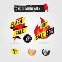 Collezione di disegni di tag banner vendita calda flash vettore