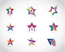 Star colorato Logo Design Set vettore